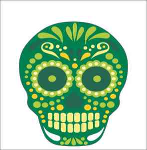 Green Circle Eye Skull Sticker