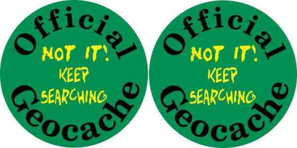 [2x] 3in x 3in Keep Searching Geocache Stickers