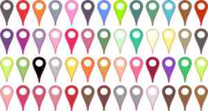 [52x] Assorted Colors Map Pointer Stickers