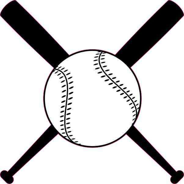 4in x 4in Baseball and Crossed Bats Sticker Vinyl Sports