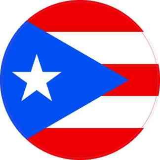 Round Puerto Rico Flag Sticker