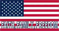 Faith Family Freedom American Flag Sticker