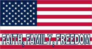 Faith Family Freedom American Flag Sticker