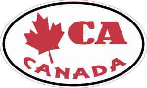 Oval Maple Leaf CA Canada Sticker