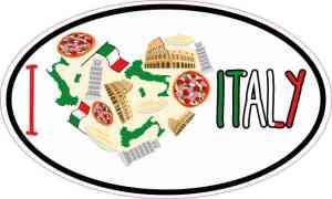 Oval I Love Italy Sticker