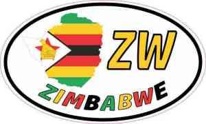 Oval ZW Zimbabwe Sticker
