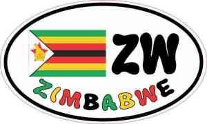 Oval ZW Zimbabwe Flag Sticker
