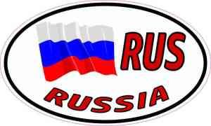 Oval RUS Russia Flag Sticker
