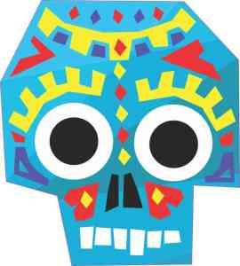 Blue Tribal Skull Sticker