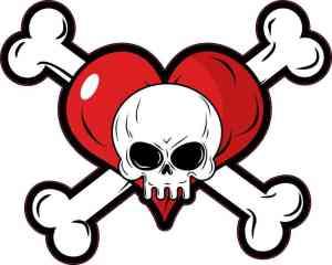 Heart Skull and Crossbones Sticker