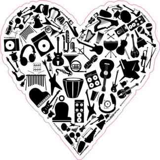 Black Instrument Heart Sticker