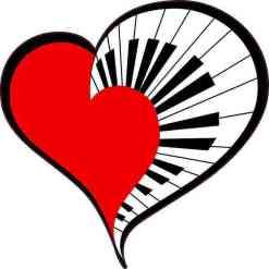 Red Piano Heart Sticker