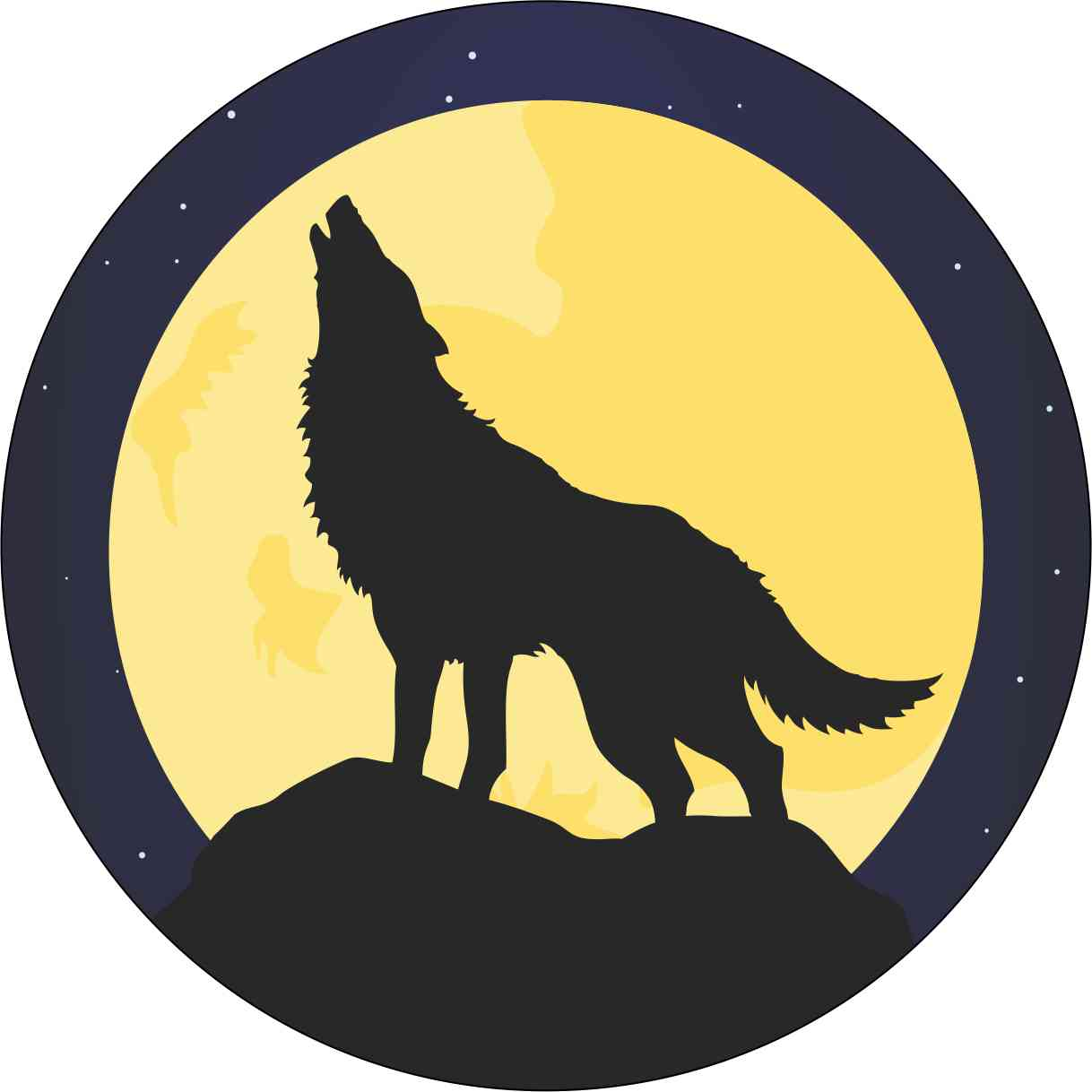 Circle Howling Wolf Sticker
