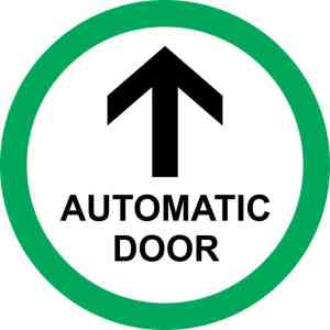 Green Circle Automatic Door Sticker