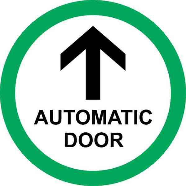 Green Circle Automatic Door Sticker