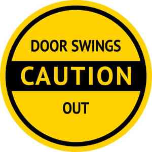 Caution Door Swings Out Sticker
