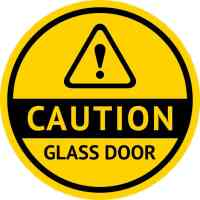 5in x 5in Symbol Caution Glass Door Sticker Vinyl Business