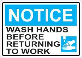 Picture Notice Wash Hands Before Returning To Work Magnet
