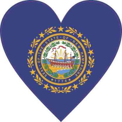 New Hampshire Flag Heart Sticker