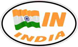 Oval IN India Flag Sticker