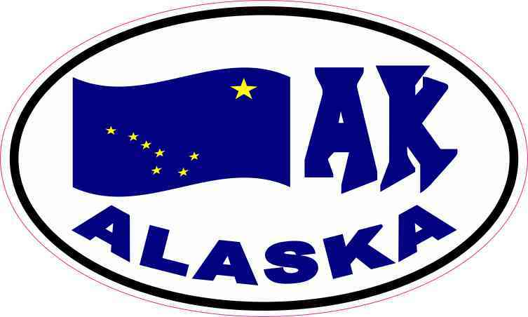 Oval AK Alaska Flag Sticker