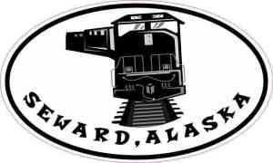 Oval Train Seward Alaska Sticker