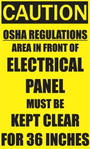 Area in Front of Electrical Panel Must be Kept Clear Sticker