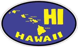 Oval HI Hawaii Islands Sticker