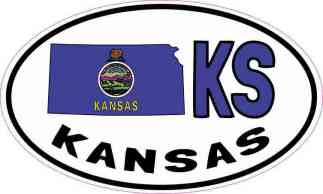 Oval KS Kansas Sticker