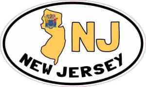 Oval NJ New Jersey Sticker