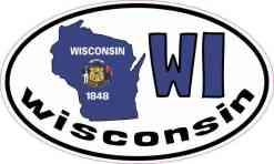 Oval WI Wisconsin Sticker