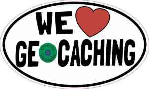 Oval We Love Geocaching Sticker