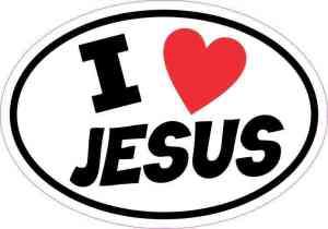 Oval I Love Jesus Sticker