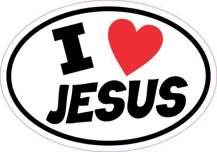 5inx3 5in Oval I Love Jesus Sticker Vinyl Christian Car Decal Cup Stickers