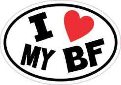 Oval I Love My BF Sticker