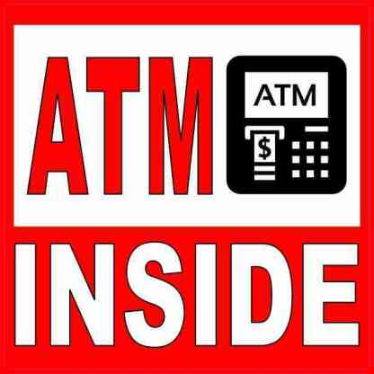 Picture Red and White ATM Inside Sticker