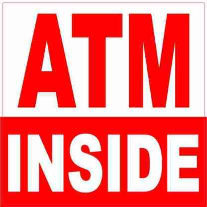 Red and White ATM Inside Magnet