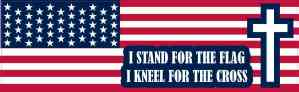 I Stand for the Flag I Kneel for the Cross Sticker