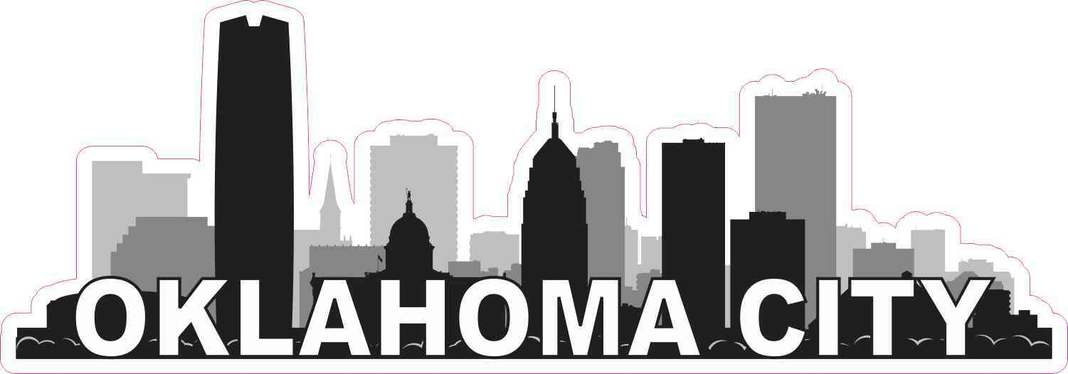 10inx3 5in Oklahoma City Skyline Sticker Vinyl Car Window Bumper Stickers