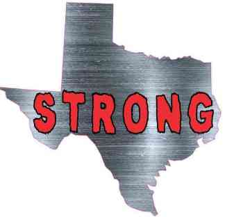 Simulated Metal Die Cut Texas Strong Sticker