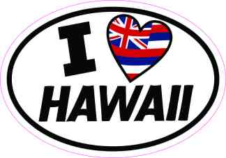 Oval I Love Hawaii Sticker