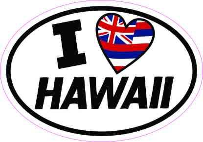 Oval I Love Hawaii Sticker