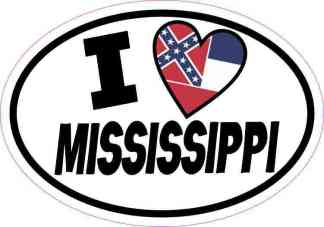 Oval I Love Mississippi Sticker