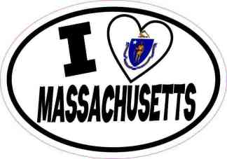 Oval I Love Massachusetts Sticker