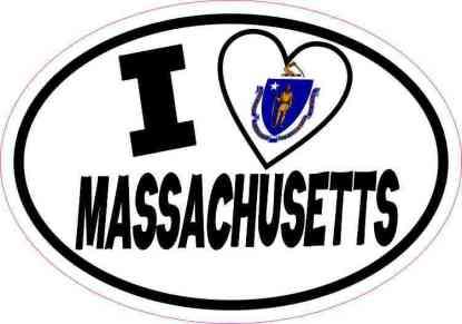 Oval I Love Massachusetts Sticker