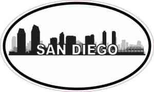 Oval San Diego Skyline Sticker