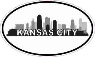 Oval Kansas City Skyline Sticker