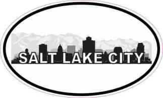 Oval Salt Lake City Skyline Sticker