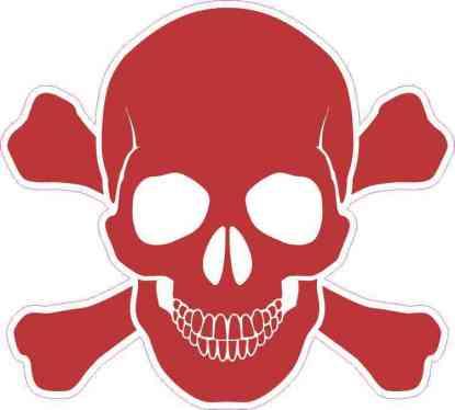 Red Skull and Crossbones Sticker