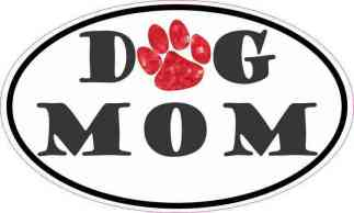 Oval Paw Print Dog Mom Sticker